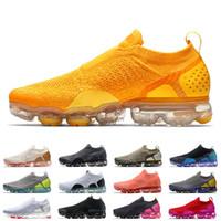 Nike Air Vapormax Flyknit MOC 2.0 Laceless TN Plus TN Kadın Erkek Koşu Ayakkabıları tns Üniversitesi Altın Kırmızı Üçlü Siyah Whtie Nefes Erkek Eğitmenler Sneakers