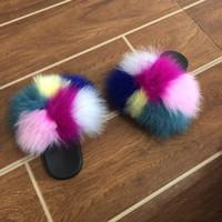 Тапочки дети пляж Cute Raccoon Wear меха Слайды пушистые тапочки малышей ребёнков Fur Слайды обувь Летняя Вьетнамки