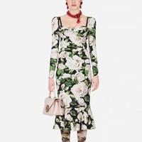 Weinlese-Druck Blumen lange Ärmel dünnes Temperament elegante Falten Partei Fishtail Mittellanges Kleid Frauen neuer Frühling und Sommer