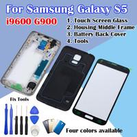 Samsung Galaxy S5 i9600 G900F G900T G900P G900A Dokunmatik Ekran Cam + Konut Orta Frame + Pil Arka Kapak + Araçlar İçin