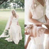 2020 Boho Land Sommer eine Linie Brautkleider Spitzen Perlen Portrait Schatz Bohemian Brautkleider Sweep Zug Günstige Braut Kleid