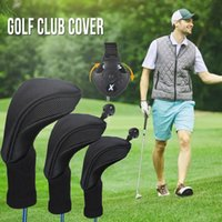 Black Golf Head Covers Driver 1 3 5 Fairway Woods Headcovers Collo lungo 1680D Knit Protective Covers Adatto a tutti Fairway e Driver