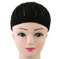 Cornrow Wig Caps Per la fabbricazione di parrucche intrecciato Cap Per tessuto Crotchet colore nero che intreccia Cap parrucca Cap regolabile Con Crotchet Trecce
