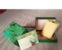 الشحن مجانا لوكس يوري مشاهدة الرجال للرول السابق ووتش مربع الأصل الداخلية الخارجي منس الساعات صناديق الرجال ساعة اليد الخضراء بطاقة مربع كتيب