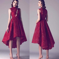 Modest Krikor Jabotian Wine Red Lace Short Plus Size Cocktai...