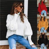 Womens Herbst Designer Mode Pullover Rollkragenlaterne Laterne Sleeve Pullover Lässige Nette Art Kleidung