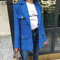가을 격자 무늬 트위드 사무실 블레이저 여성 빈티지 싱글 브레스트 긴 소매 여성의 재킷 블레이저 feminino 코트 여성 자켓