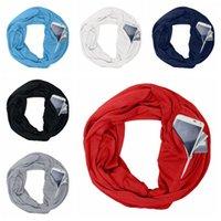 Warm portatile Le donne Zipper sciarpa creativo Pocket Infinity inverno sciarpa morbida esterna degli uomini Viaggi Viaggio Anello scaves TTA1490