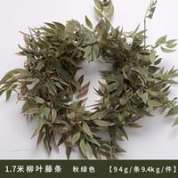 170cm artificial de la hiedra verde sauce Leaf Garland planta de vid falso follaje de las flores Decoración de seda de la flor artificial de cadena rota