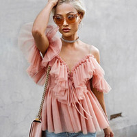 Parigi Vintage Girl Ruffle estate Donne Camicetta Top spalle scoperte Sexy Peplum Top Female Mesh Backless Feminine Blouse Blusas