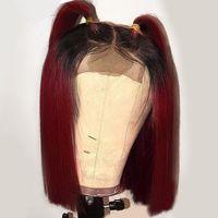14 Inchmmiddle Part Short Straight Bob Parrucche per capelli pieni Nero Ombre Borgogna Red Parrucca anteriore sintetico in pizzo sintetico per le donne afro