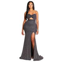 Bling noir sexy creux de Split chérie sirène Sequin élastique longue Formal-parole longueur robes tapis rouge robes de soirée Night Club Party