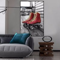 Red Picture Kids Soggiorno Home Decor Rollerskate e moto Nordic Poster PVC dipinto HD Wall Sticker Art Print TZ016