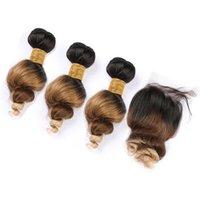 Malaysian Ombre Humano Pacotes de cabelo com Encerramento Três Tone # 1B 4 27 Ombre solto 4x4 Cabelo onda humana Lace Encerramento com Weave Pacotes