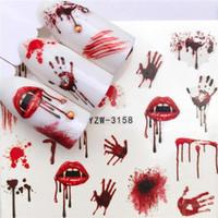 YWK 1 PC Halloween Nail Sticker Acqua autoadesivo Nail Art Tattoo Grandi labbra / palme Decalcomanie per decorazioni fai da te Avvolge Halloween 100 pz / lotto