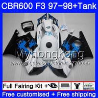 BODYS + 탱크 혼다 용 CBR600FS CBR 600F3 CBR 600 F3 FS 97 98 290HM.42 CBR600RR CBR600F3 낙서 블루 핫 1997 1998 CBR600 F3 97 98 페어링