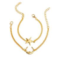 2pcs / set Brilliant Moon Star Luxury Designer Jóias Presentes Mulheres Pulseiras Femme Charm Bracelet Pulseiras Dropshipping