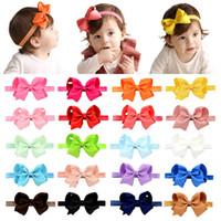20 unids / lote Girl Bows Diadema Elástica cintas para el pelo Cintas arcos Turban Bowknot Head Wrap Accesorios para el cabello 608