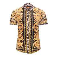 True Reveler Sommer Stil Design Herren Kurzarmhemden Leopardenmuster Mode Smokinghemden Goldkrone Bluse Party Club Tops