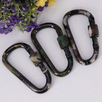 Klettern Quick Hang Hook Keychain D-förmigen Camouflage Karabiner Aluminiumlegierung Bergschnalle Fit im Freien Gargets ZZA1050