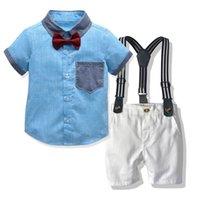 소년 여름 옷 세트 2020 신사 옷깃 셔츠 스트랩 반바지 패션 카디건 티셔츠 2 피스 세트