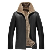 Men leather thick fleece jacket warm motorcycle pu leather j...
