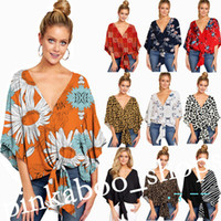 2020 Mulheres Floral Impresso T-shirt Meia Manga V-Neck Tops Knotted Tops Tee Spring Summer Moda Senhoras Blusa Casual Wear Plus Size S-5XL LY320