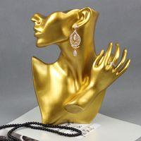 Creative Fashion Resin Gold Maniquin Head Jewelry Pantalla de la exhibición del soporte del soporte para la pulsera Pantalla del anillo del collar