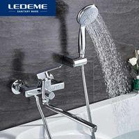 Torneiras de banheira Ledeme chuveiro torneira conjunto de banho banheiro torneira cromado chapeado cabeça mixer l2233