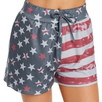 women summer printed stripes and stars belted casual shorts