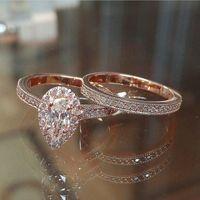Klassische Birnenförmige Waterdrop Zirkon Diamant Verlobungsring Rose Gold Legierung Damen Mode Trendy Paar Ringe Geschenk Schmuck