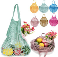 Portatile Della Maglia Del Cotone Net String Shopping Bag Riutilizzabile Pieghevole Di Stoccaggio Di Frutta Borsa Totes Donne Shopping Mesh Net Grocery Tote Bag