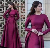 Grape Long Sleeve A Line Evening Dresses Pleats Satin Floor ...
