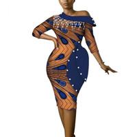 Vestidos africanos para mujeres Vestidos Tasel Vestidos elegantes de Ankara dashiki Tallas grandes Fuera del hombro Ropa africana WY3686