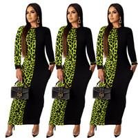 Para mujer otoño atractivo cadera largo ajustado de Partido Costura de vestir de manga larga vestido de cola de pescado leopardo Summe Maxi vestido más del tamaño