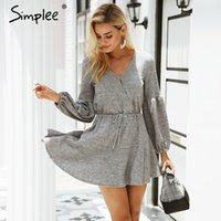 Повседневные платья Simplee Sharen Рукав вязание свитер платье женщины сексуальные V шеи осень зима свободная белая уличная улица