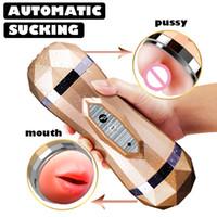 Masturbator maschio Vibratore vagina reale per Toy uomini del silicone, possono suonare, Gola profonda fica Bocca doppie giocattoli del sesso per adulti succhiare uomo Y191216