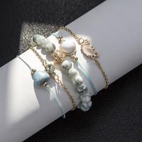Bls-Miracle Boho Crab Heart Charm Bracelet Set女性用ニューデザインストーンビーズ無限ステートメントブレスレットヴィンテージジュエリー