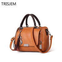 Vintage Scrub leather Pillow Bag with Beading Handbags Tasse...