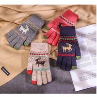 Guantes de punto de mujer invierno más caliente de espesor estudiante lindo de terciopelo de punto de lana de Navidad ciervos patrón XD22828