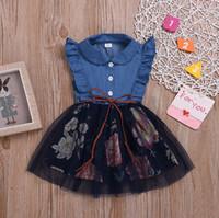 Çocuklar Tasarımcı Giyim Kız Denim Mesh Elbiseler Ruffled Prenses Elbise Kolsuz Çocuk Kıyafetler Butik Yaz Çocuk Giyim DHW3888