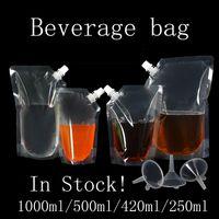 1000ml / 500ml / 420ml / 250ml Stand-up Bevanda di plastica confezione sacchetto becco Pouch per il succo di bevanda liquida Latte Caffè sacchetti di immagazzinaggio di trasporto
