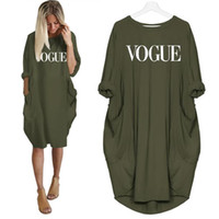 2019 New Fashion T-Shirt per Donna VOGUE Lettere Stampa Pocket Tops Harajuku T-Shirt Plus Size Grafica Tees Donna Off Shoulder