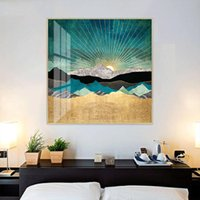 Cores na moda Imprimir Sunrise Mountain Canvas Pintura de paisagem Poster Wall Art Retrato para Aisle Sala Home Decor No Frame