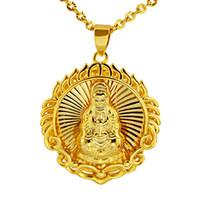 Круг Будда ожерелье цепи 18k желтого золото Заполненные буддийские Убеждения женщины Mens подарок ювелирных изделий