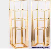 geométrica puntales colocados plomo del camino del marco del oro del hierro del hierro plateado de la boda Packaged lazo del arte apoyos de un conjunto de cuatro piezas de color oro puesto de flores