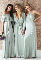 2021 Tozlu Yeşil Uzun Boho Nedime Elbiseler Şifon V Boyun Kapalı Omuz Halter İmparatorluğu Ülke Uzun Düğün Misafir Balo Akşam Parti Elbise