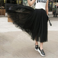 Spring and summer new high waist gauze skirt female slim pet...