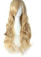 PELUCA envío muchacha de la señora encanto peluca de pelo largo ondulado cosplay traje peluca rubia