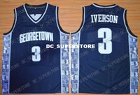 Cheap custom Georgetown Hoyas Allen Iverson #3 Jersey Stitch...